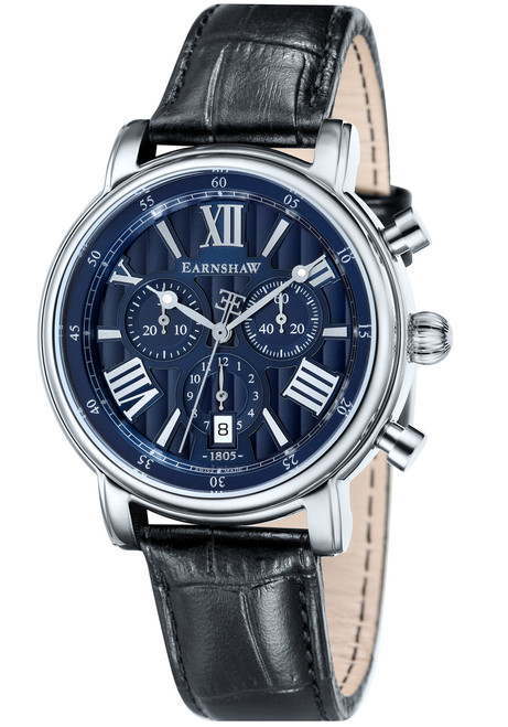 Thomas Earnshaw Longcase 43 Silver Black Blue (ES-0016-02)