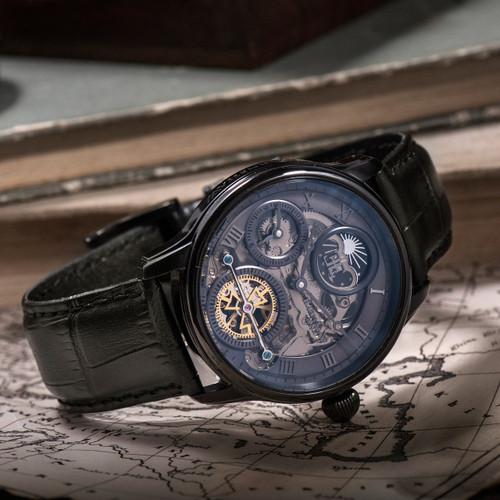... Thomas Earnshaw Longitude Shadow Automatic Black Grey (ES-8063-03) ...