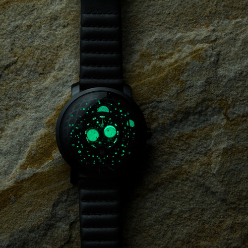 Xeric Trappist-1 Moonphase Black Hole (TMP-3015)  lume glow