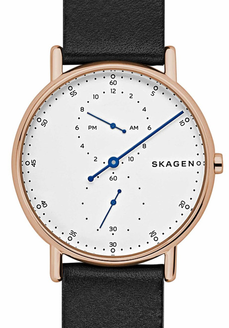Skagen Signatur One Hand Rose Gold Black Leather (SKW6390)