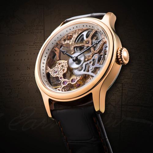 Thomas Earnshaw Bauer Hand Wind Skeleton Rose Gold (ES-8049-03)