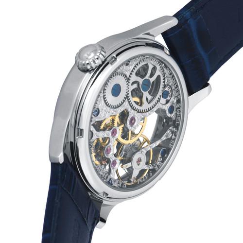 Thomas Earnshaw Bauer Hand Wind Skeleton Silver Blue (ES-8049-06)