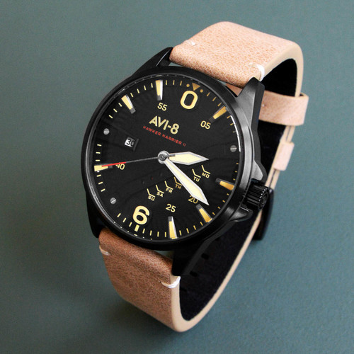 Avi 8 hawker harrier ii av 4055 04 black tan for Black tan watch