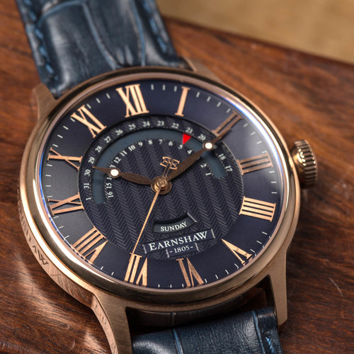 Thomas Earnshaw Cornwall Retrograde Register Day Date Rose Gold Blue (ES-8077-04)