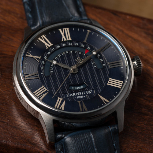 Thomas Earnshaw Cornwall Retrograde Register Day Date Silver Blue (ES-8077-05)