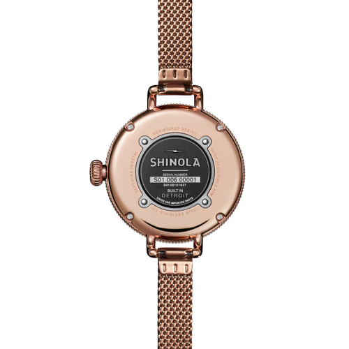 Shinola Birdy 34mm Rose Gold Mother of Pearl Mesh (S0120121837)
