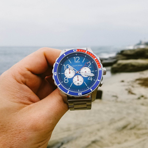 California Watch Co. Mavericks Chrono SS Navy Red (MVK-1178-01B)