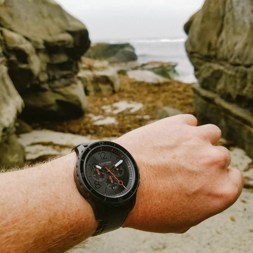 California Watch Co. Mavericks Chrono SS All Black Red (MVK-3338-03B)