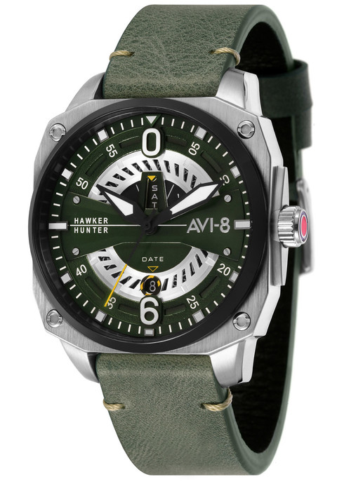 avi 8 hawker hunter day date av 4057 03 dark green silver