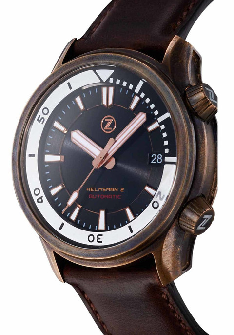 Best Automatic Watches >> Zelos Helmsman 2 Automatic 300M Bronze Black | Watches.com