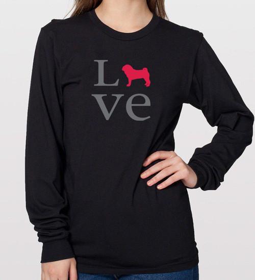 Unisex Long Sleeve LOVE Pug T-Shirt