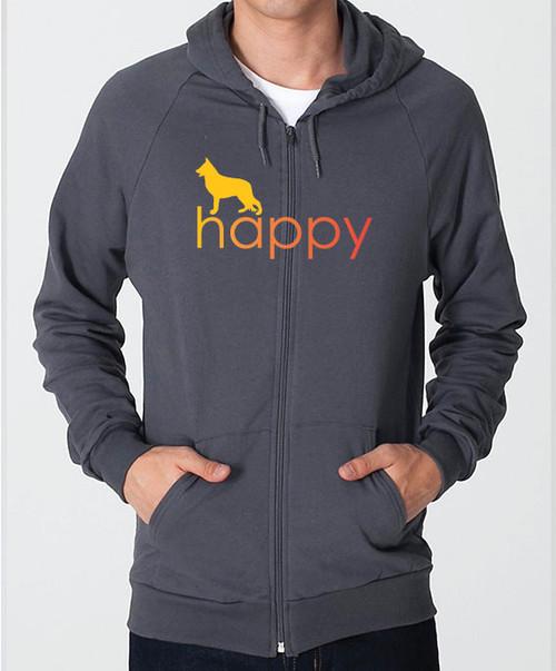 Righteous Hound - Unisex Happy German Shepherd Zip Front Hoodie