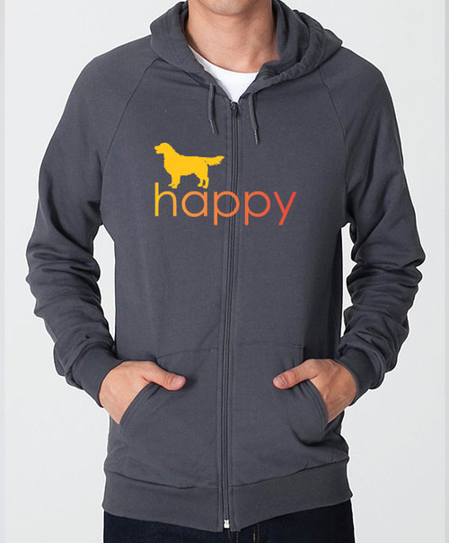 Righteous Hound - Unisex Happy Golden Retriever Zip Front Hoodie