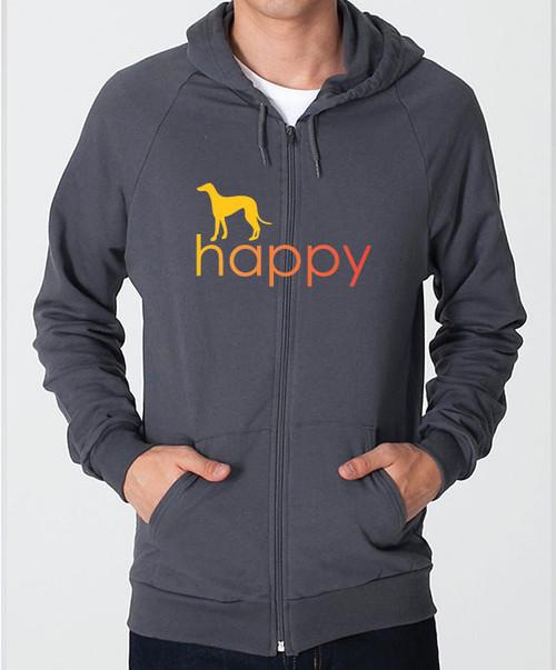 Righteous Hound - Unisex Happy Greyhound Zip Front Hoodie