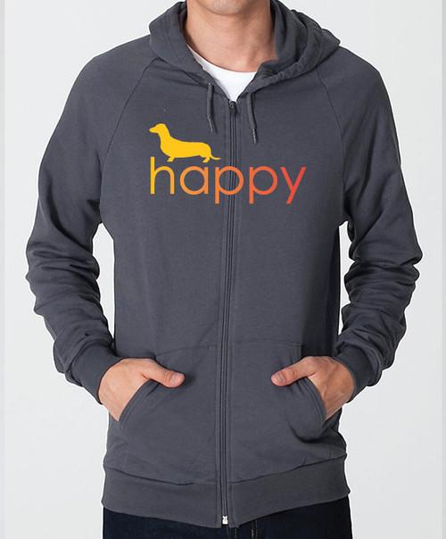 Righteous Hound - Unisex Happy Dachshund Zip Front Hoodie