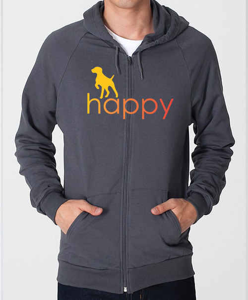 Righteous Hound - Unisex Happy German Shorthaired Pointer Zip Front Hoodie