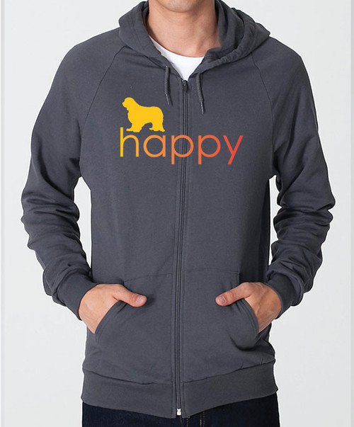 Righteous Hound - Unisex Happy Cavalier King Charles Spaniel Zip Front Hoodie
