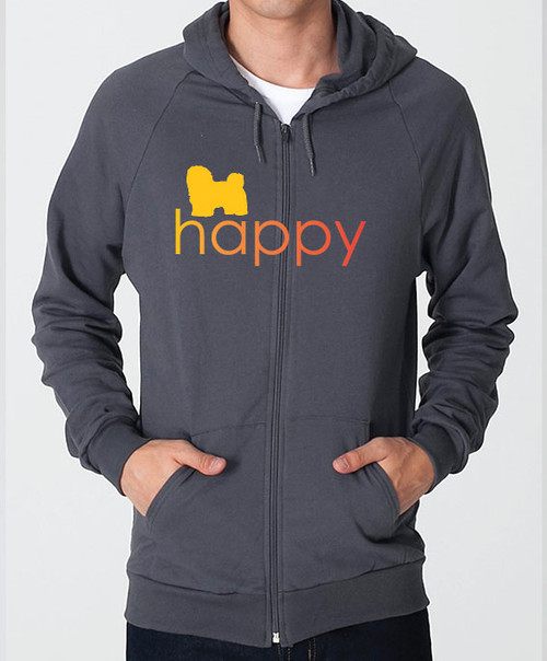 Righteous Hound - Unisex Happy Havanese Zip Front Hoodie