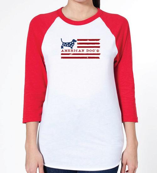 Unisex Flag Basset Hound Raglan T-Shirt