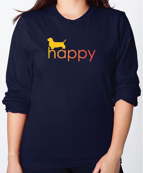 Righteous Hound - Unisex Happy Basset Hound Long Sleeve T-Shirt