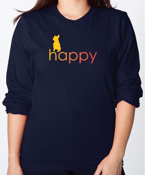 Righteous Hound - Unisex Happy French Bulldog Long Sleeve T-Shirt