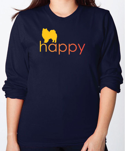 Righteous Hound - Unisex Happy American Eskimo Dog Long Sleeve T-Shirt