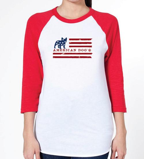 Unisex Flag French Bulldog Raglan T-Shirt