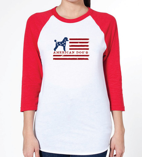Unisex Flag Poodle Raglan T-Shirt