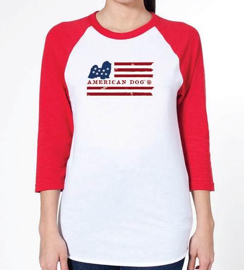 Unisex Flag Shih Tzu Raglan T-Shirt