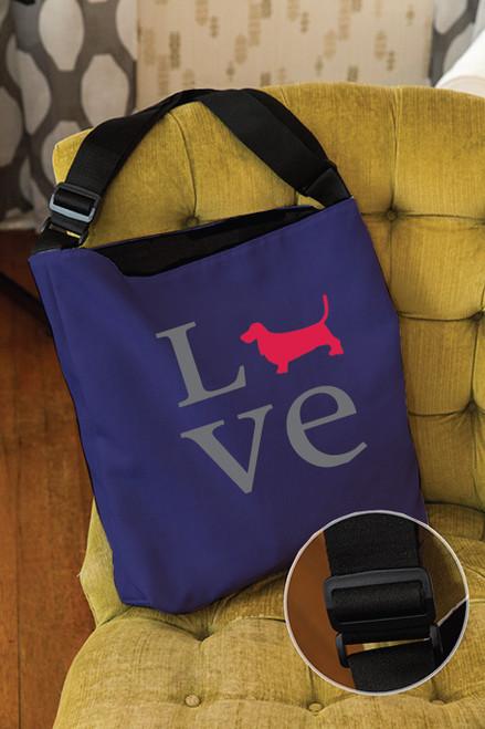 Righteous Hound - Love Basset Hound Adjustable Tote Bag