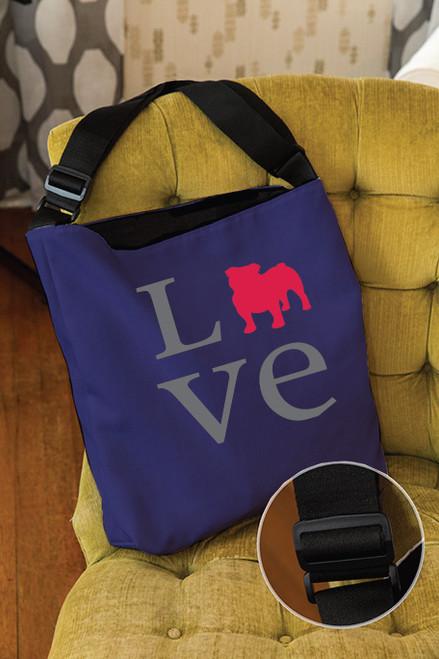 Righteous Hound - Love Bulldog Adjustable Tote Bag