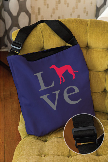 Righteous Hound - Love Greyhound Adjustable Tote Bag