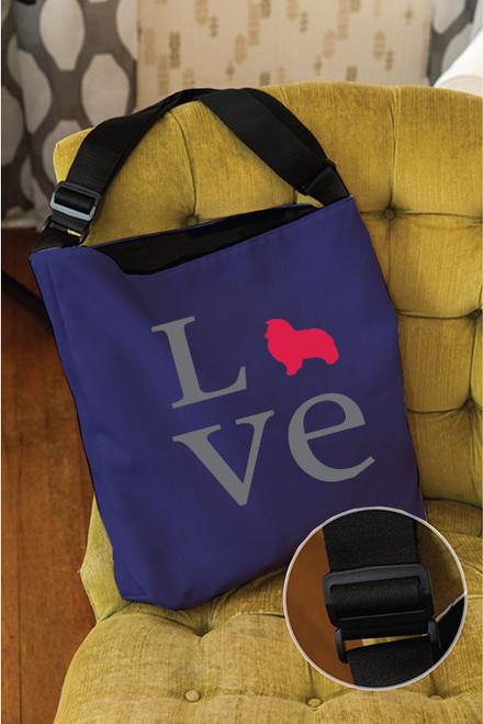 Righteous Hound - Love Shetland Sheepdog Adjustable Tote Bag