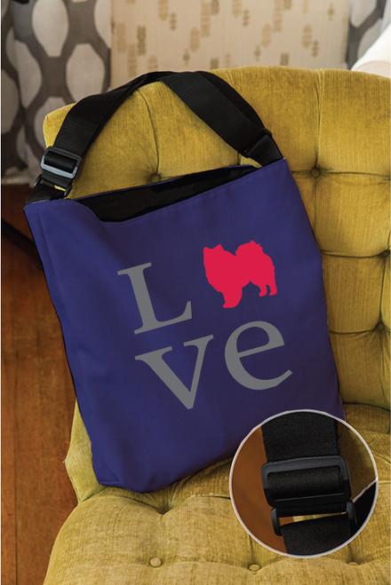 Righteous Hound - Love American Eskimo Dog Adjustable Tote Bag