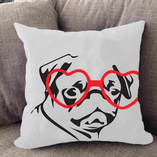 Hipster Pug Pillow