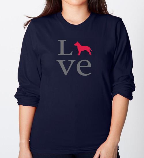 Unisex Long Sleeve LOVE Pitbull T-Shirt