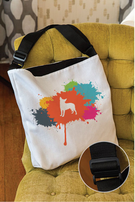 Splatter Chihuahua Adjustable Tote Bag