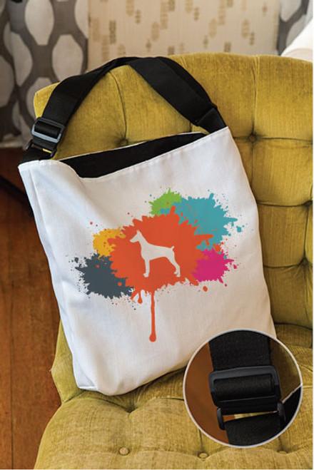 Splatter Doberman Adjustable Tote Bag