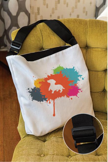 Splatter Dachshund Adjustable Tote Bag