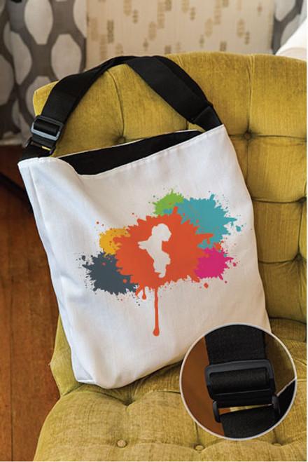 Splatter Maltese Adjustable Tote Bag