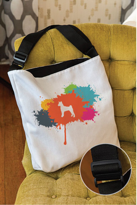 Splatter Basenji Adjustable Tote Bag