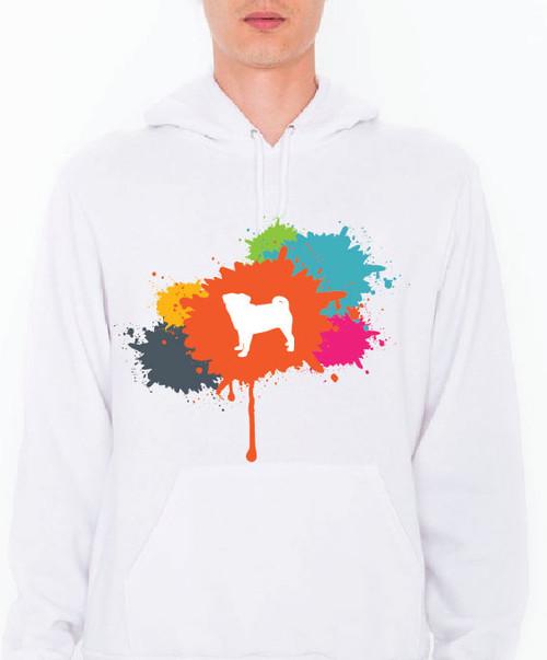 Unisex Splatter Pug Hoodie