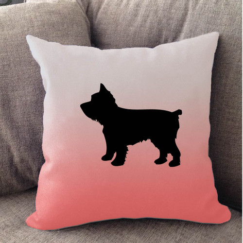 Righteous Hound - White Ombre Yorkie Pillow