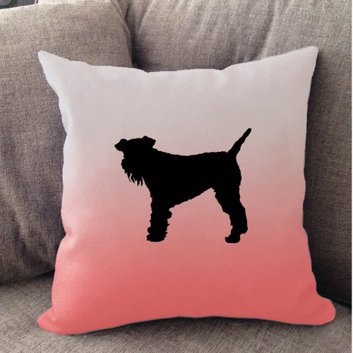 Righteous Hound - White Ombre Schnauzer Pillow
