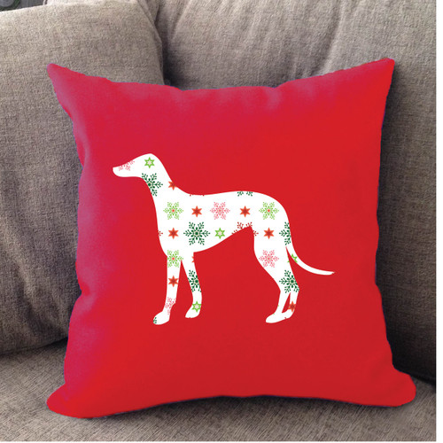 Righteous Hound - Red Holiday Greyhound Pillow