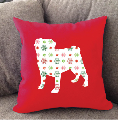 Righteous Hound - Red Holiday Pug Pillow