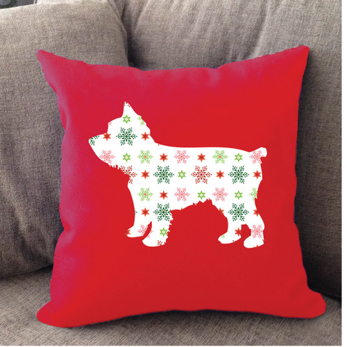 Righteous Hound - Red Holiday Yorkie Pillow