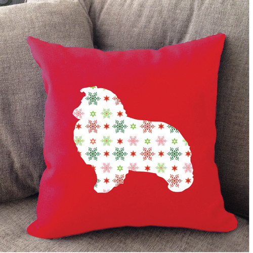 Righteous Hound - Red Holiday Shetland Sheepdog Pillow