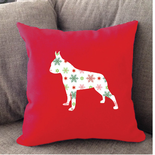 Righteous Hound - Red Holiday Boston Terrier Pillow