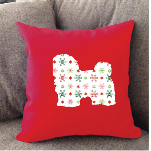 Righteous Hound - Red Holiday Havanese Pillow